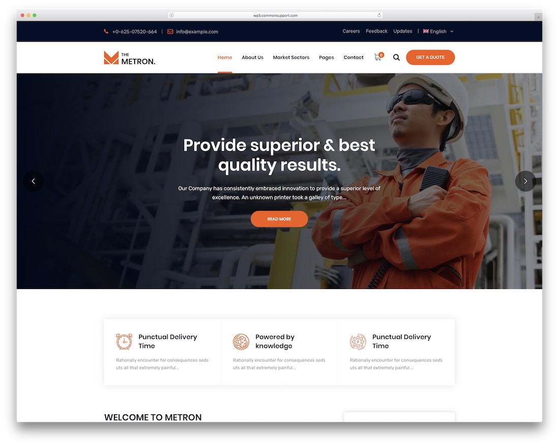 metron industrial wordpress theme