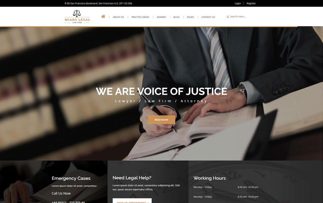 miako HTML lawyer website template