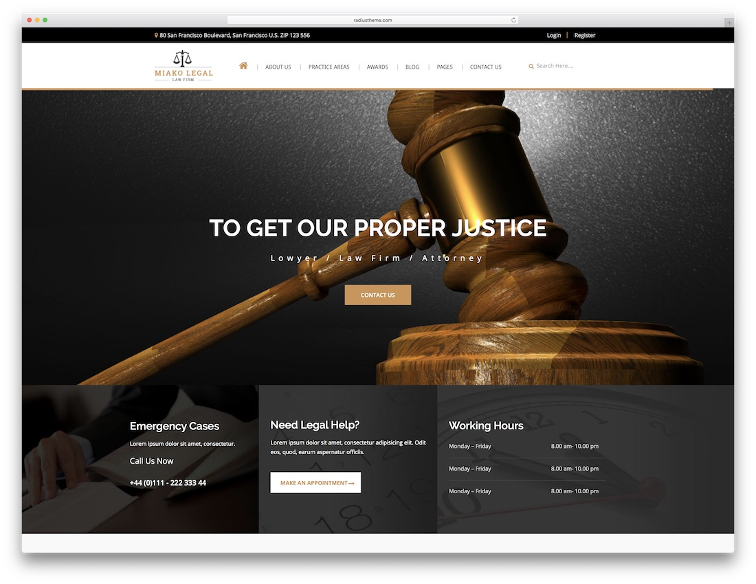 miako legal lawyer website template