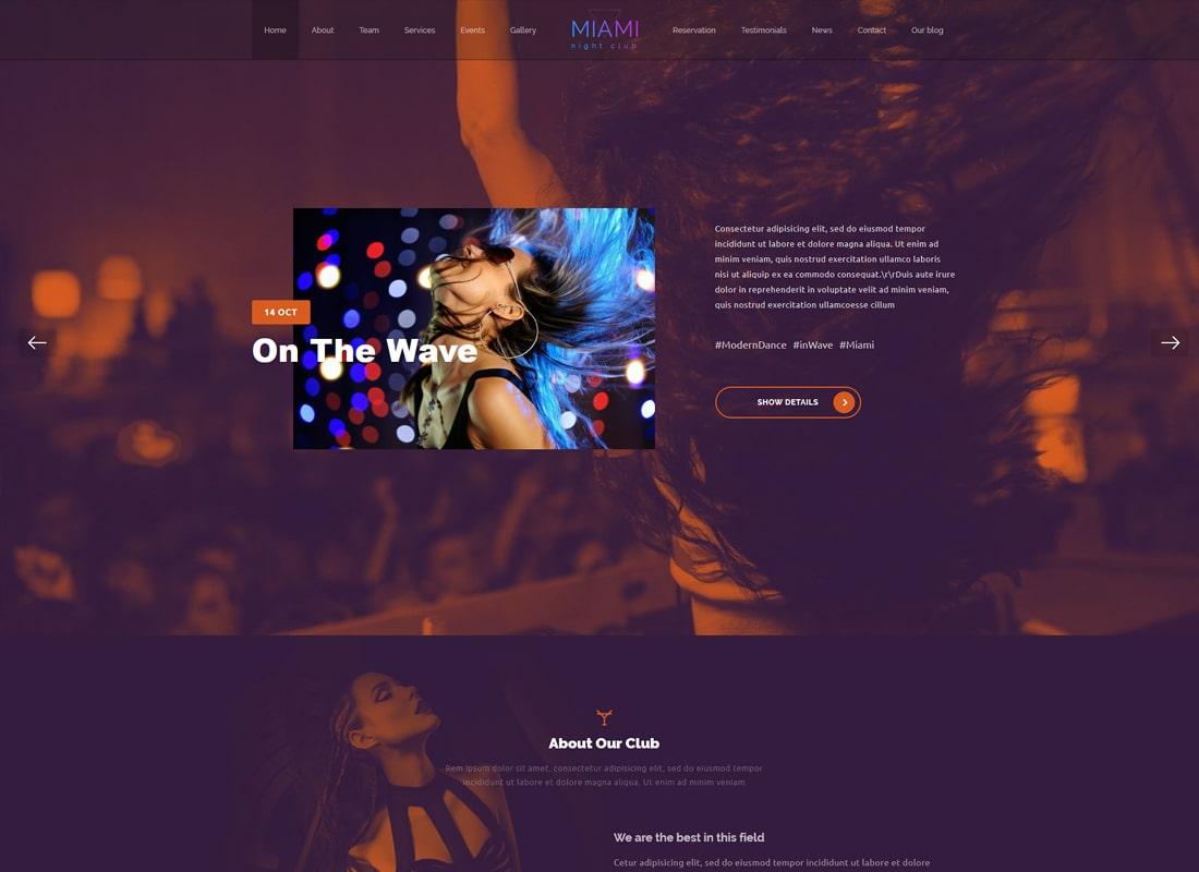 Miami - Disco Night Club WordPress