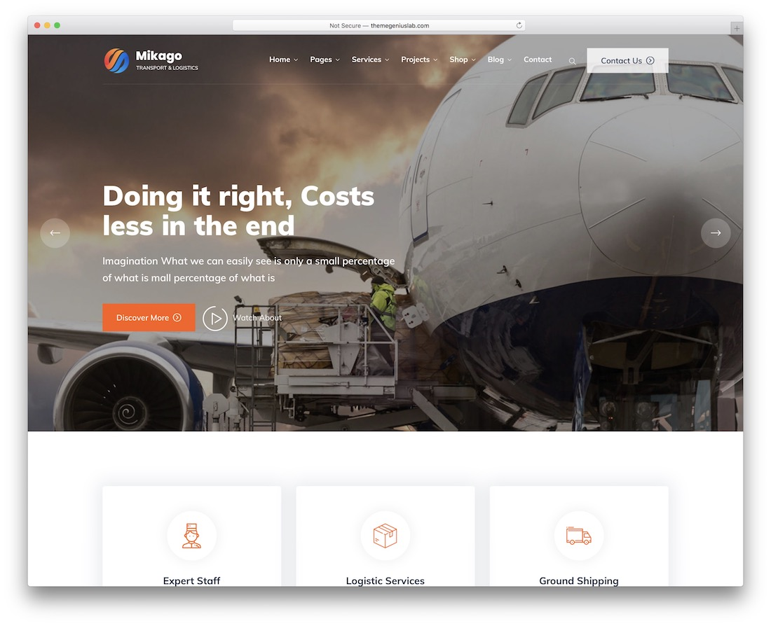 mikago transportation logistics wordpress theme