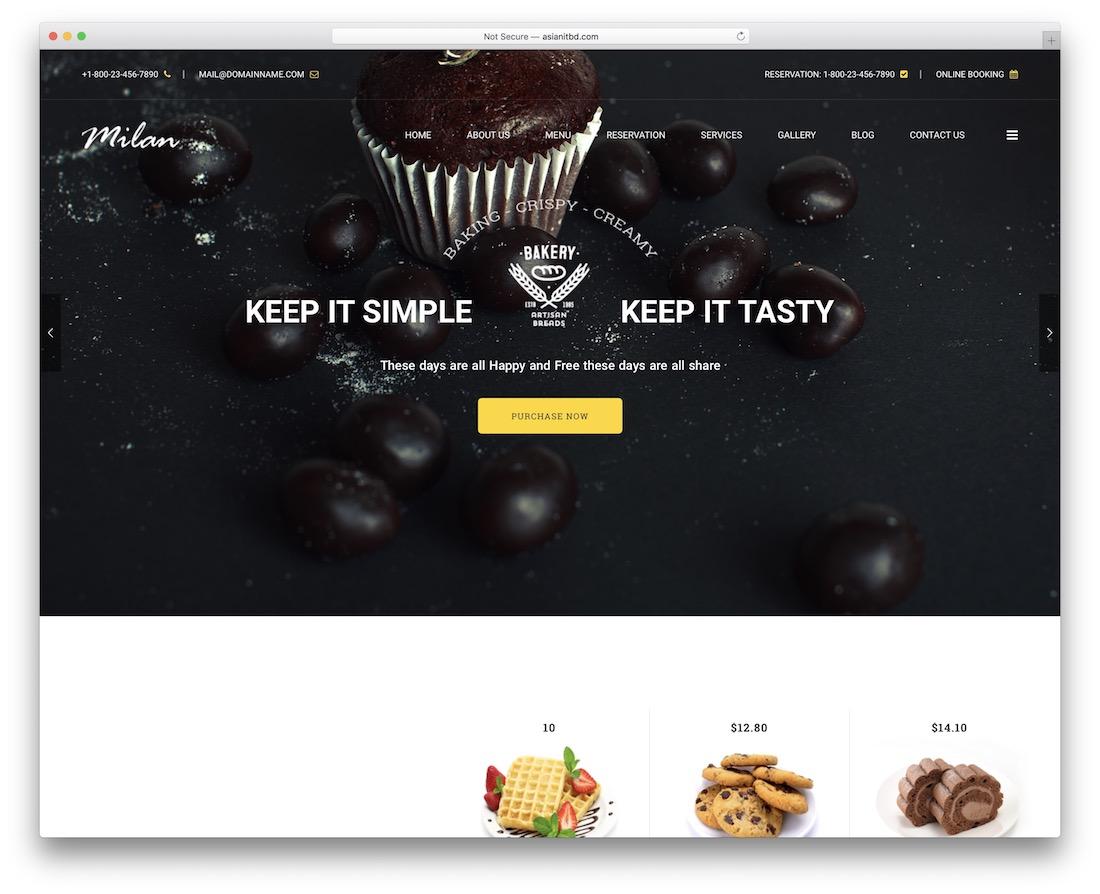 milan cake shops wordpress theme