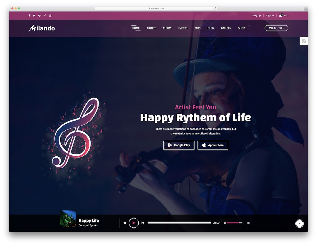 milando music website template