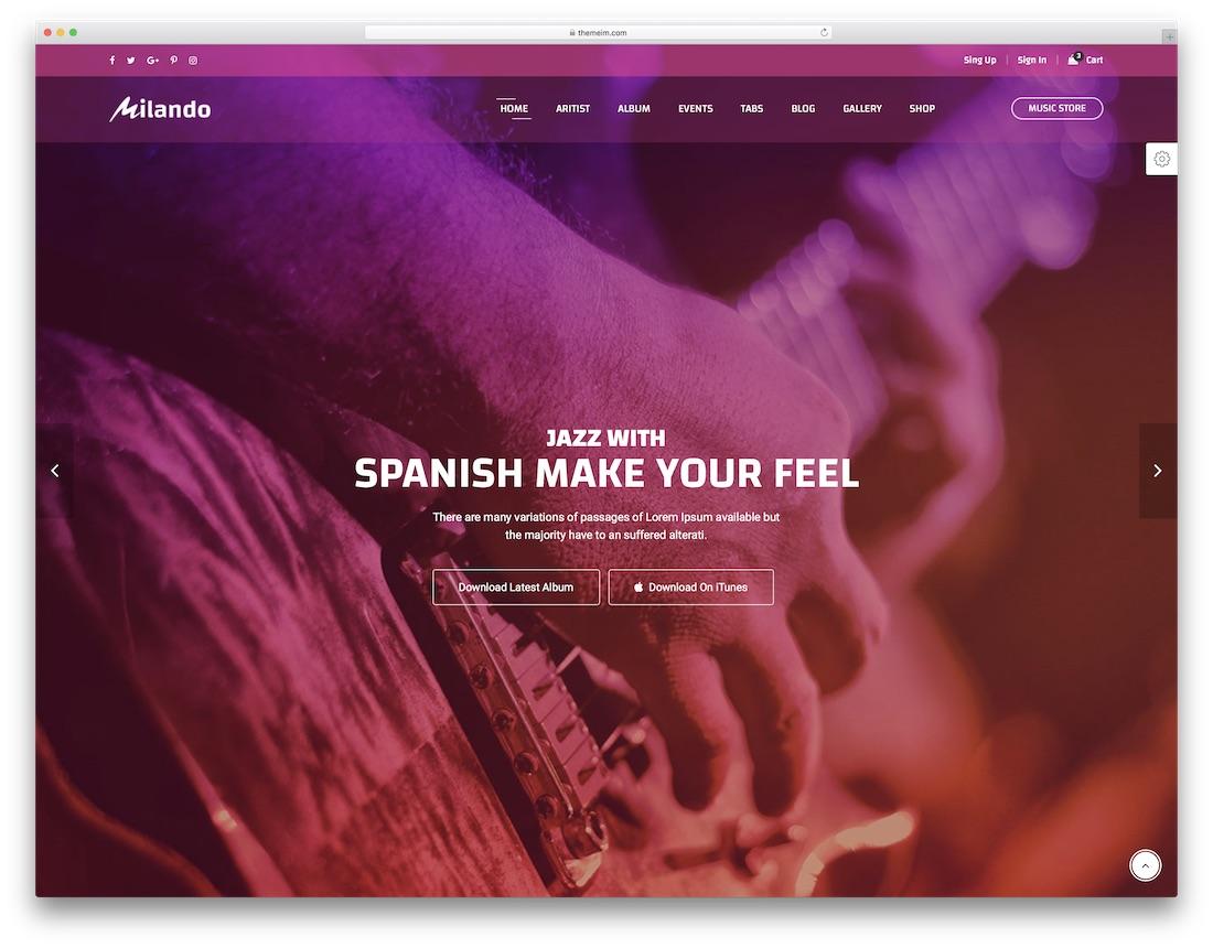 milando musician website template