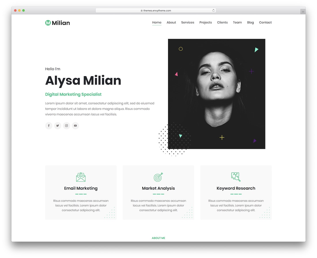 milian wordpress theme for freelancers