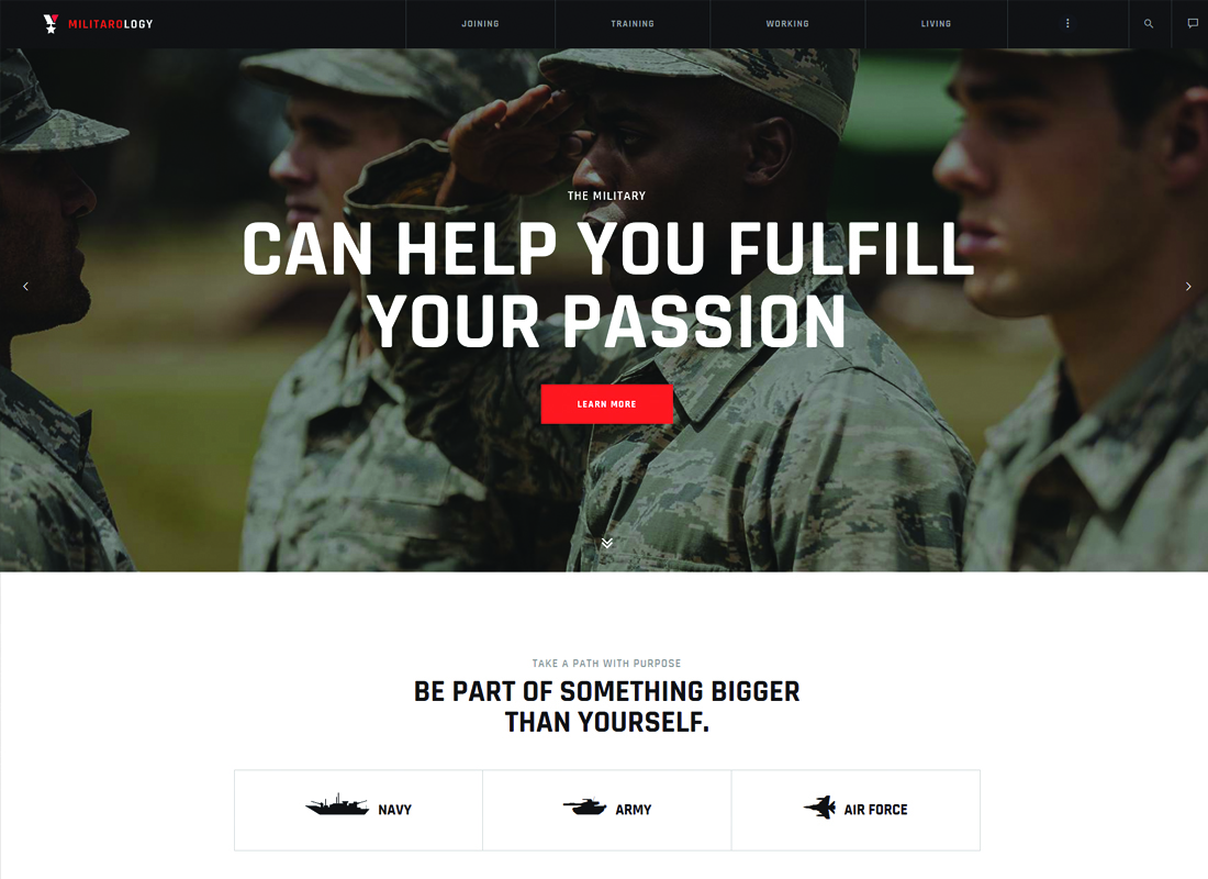 Militarology - Military Service WordPress Theme
