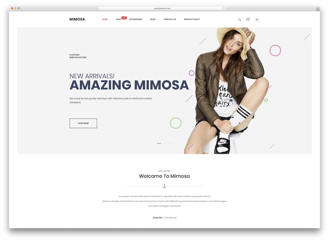 mimosa magento fashion theme
