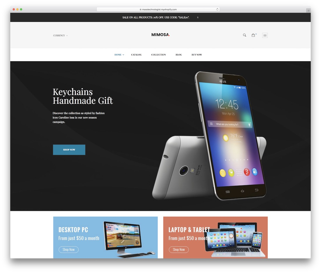 mimosa shopify technology theme