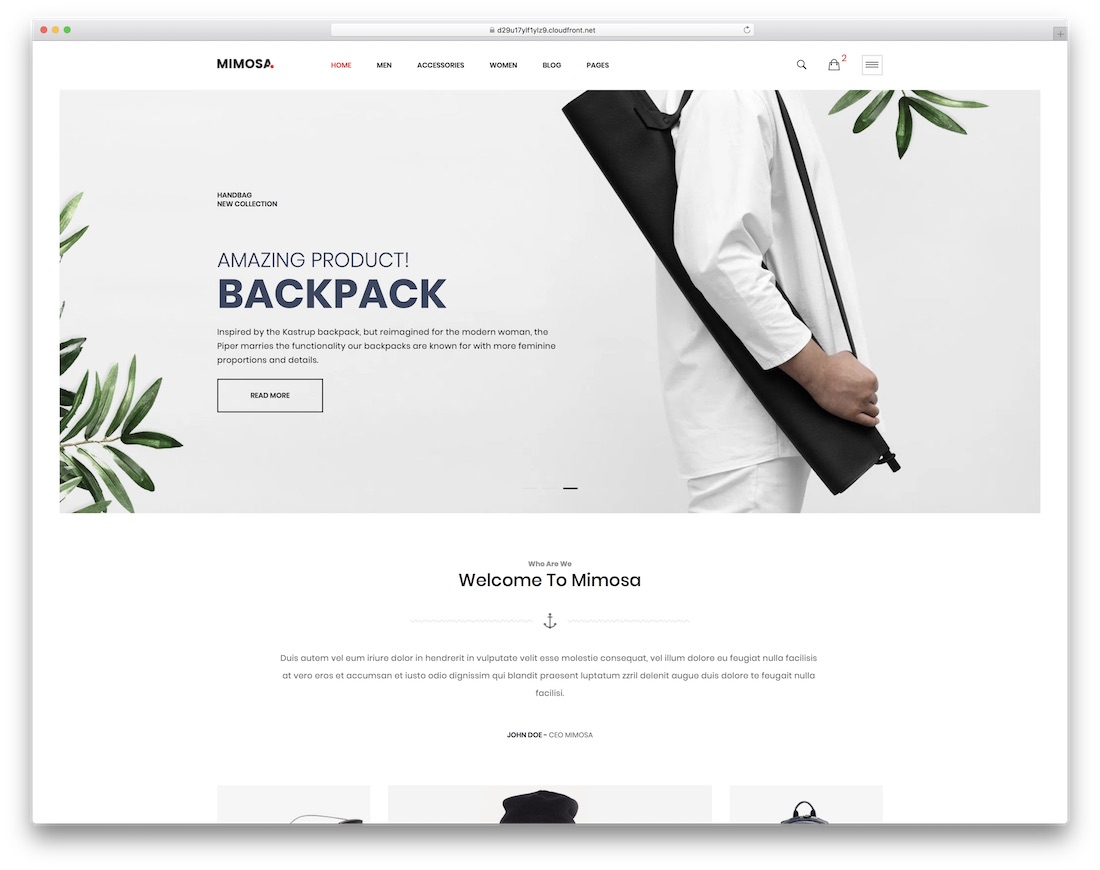 mimosa simple bootstrap template