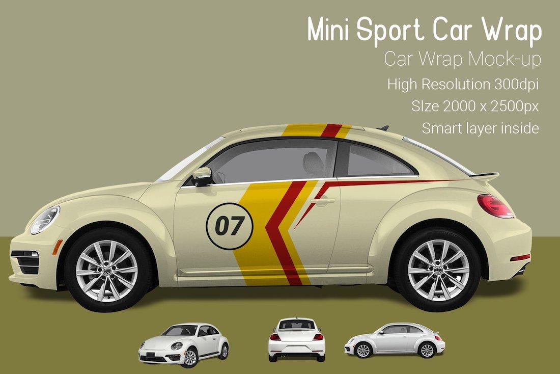 mini sport car wrap mockup