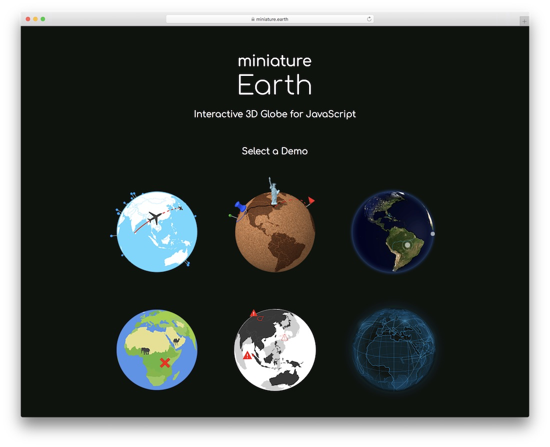 miniature earth interactive 3d globe for javascript