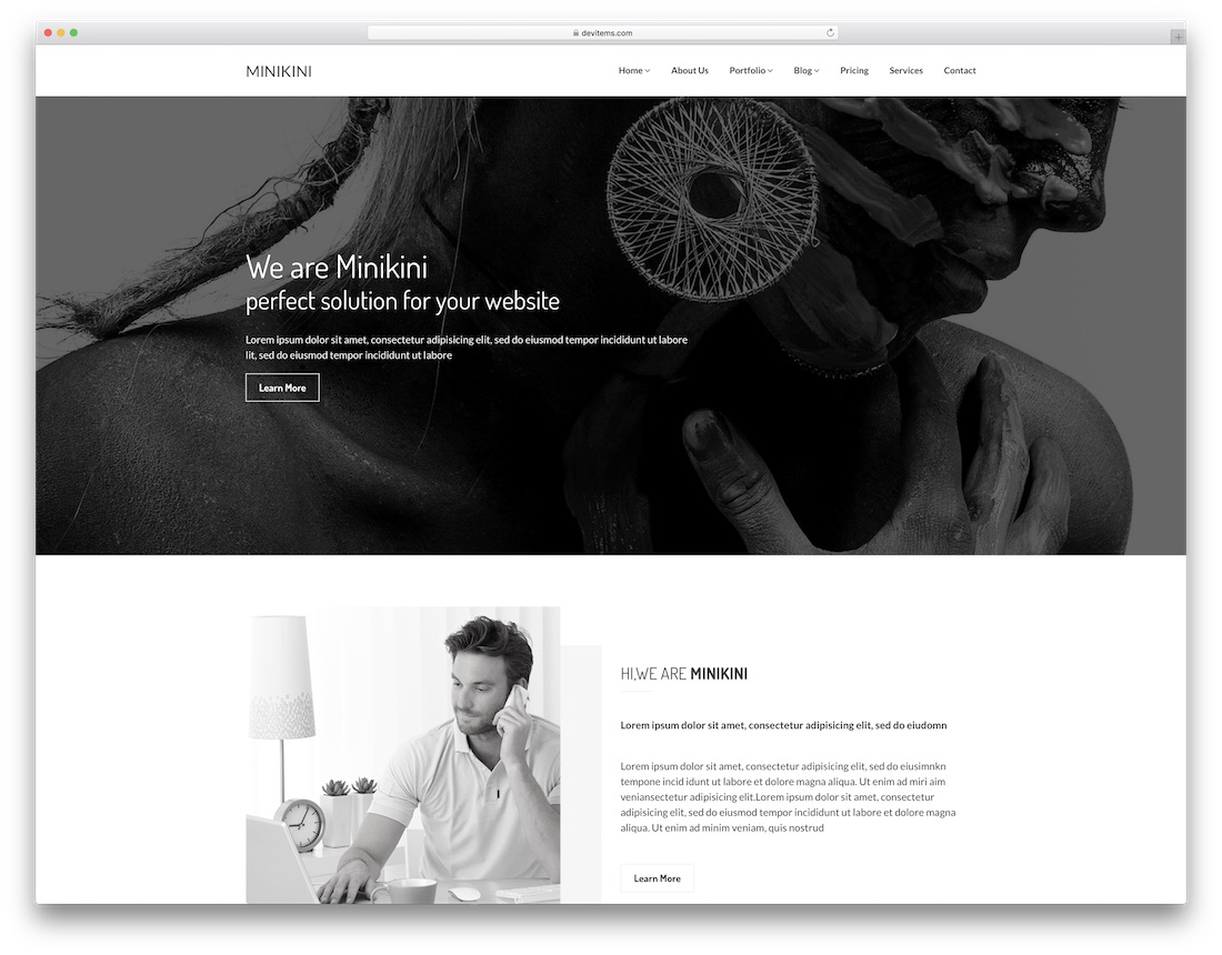 minikini professional website template