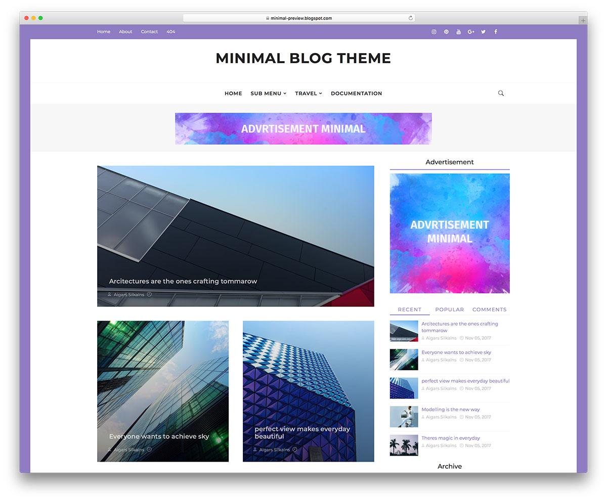 Demonstração Modelo Minimal Responsivo e Minimalista Blogs 2018