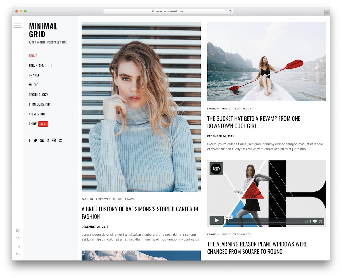 minimal grid free wordpress theme