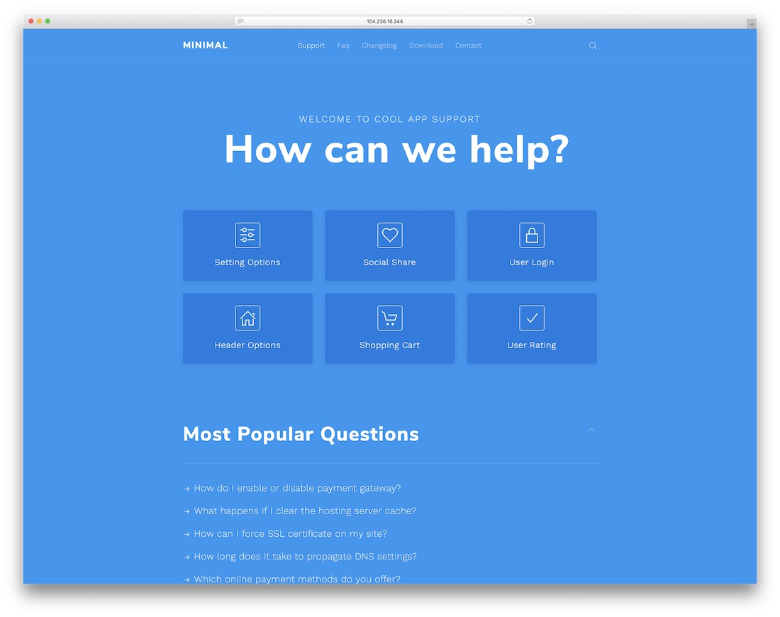 minimal helpdesk community website template