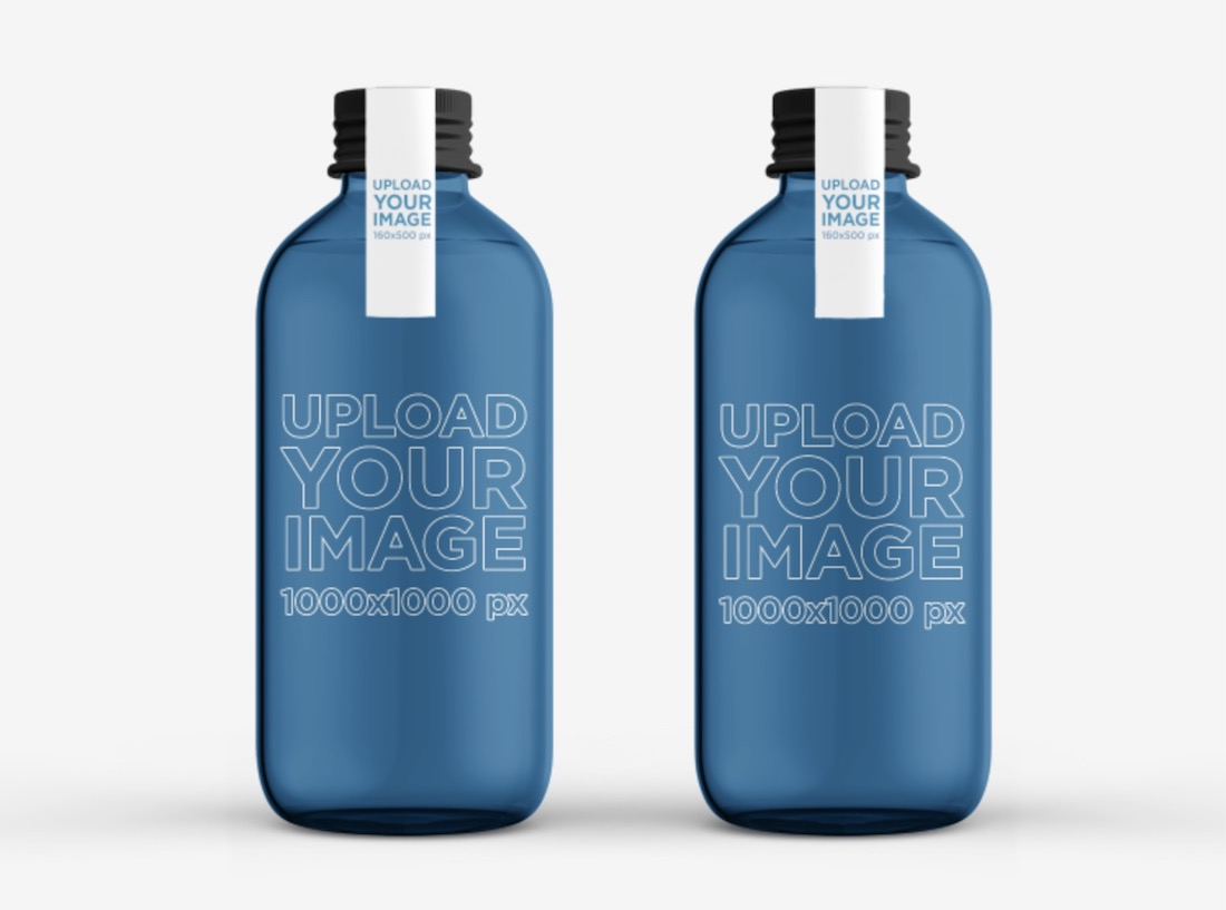 minimal packaging mockup featuring two glass water bottles