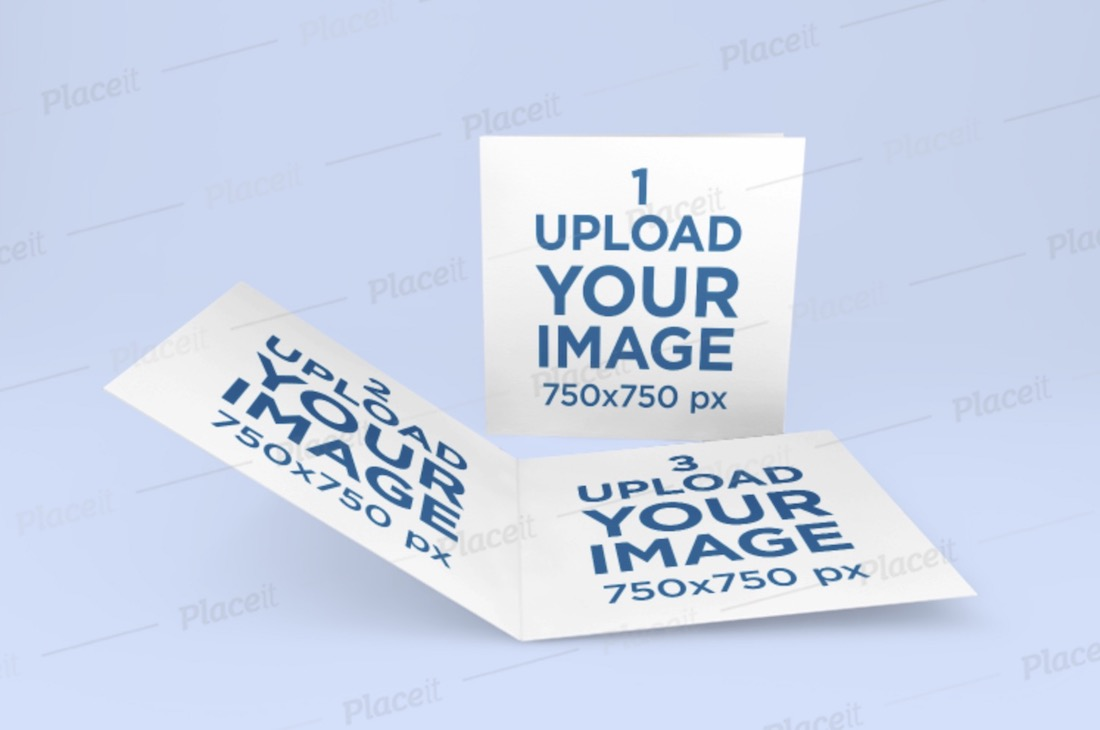 minimalist mockup of two square brochures on a plain background