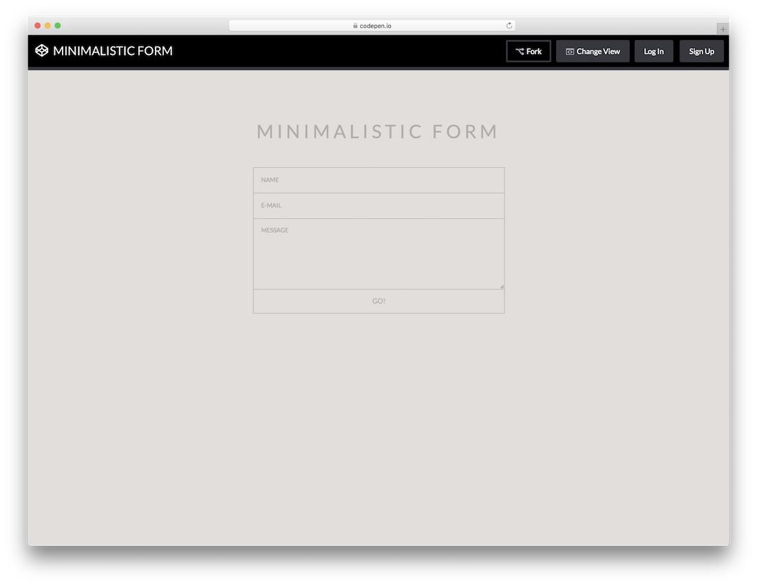 minimalistic form template