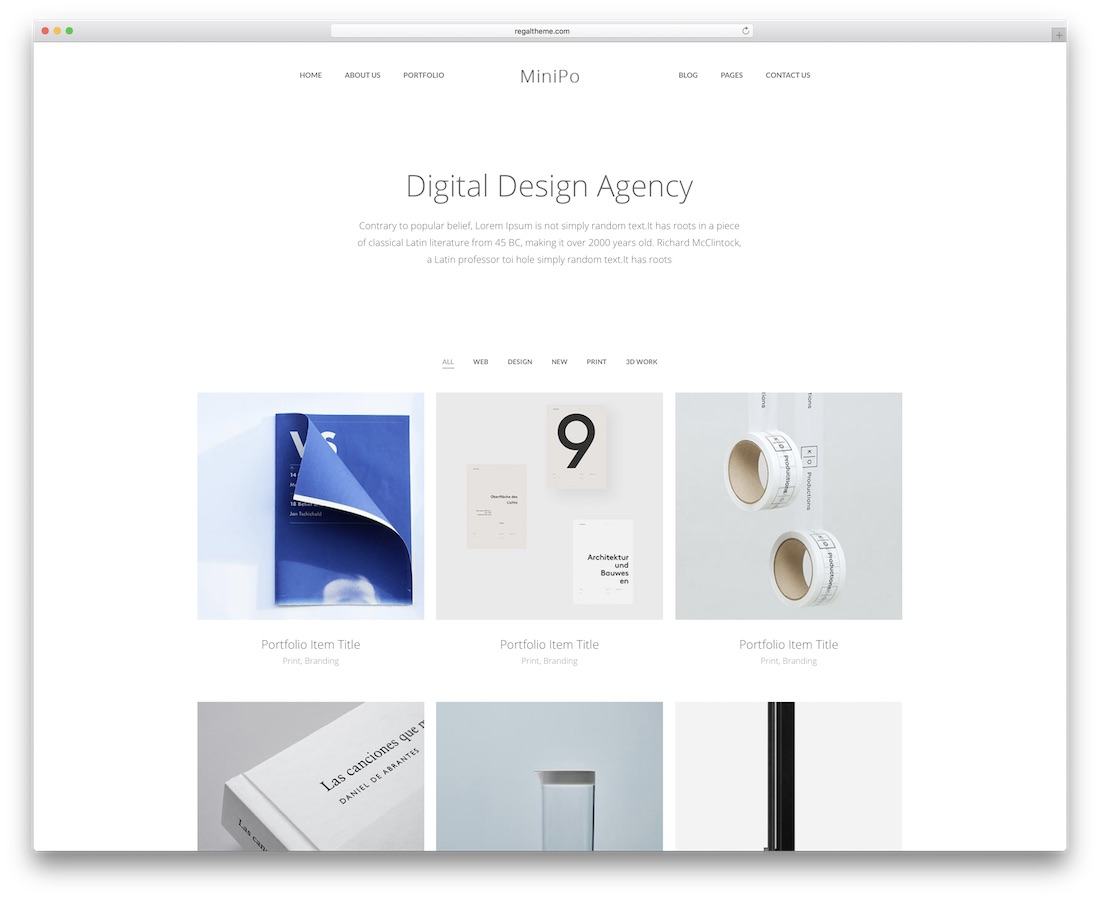 minipro minimal website template