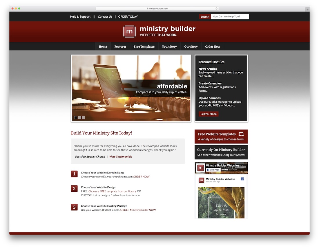 ministry builder church website builder