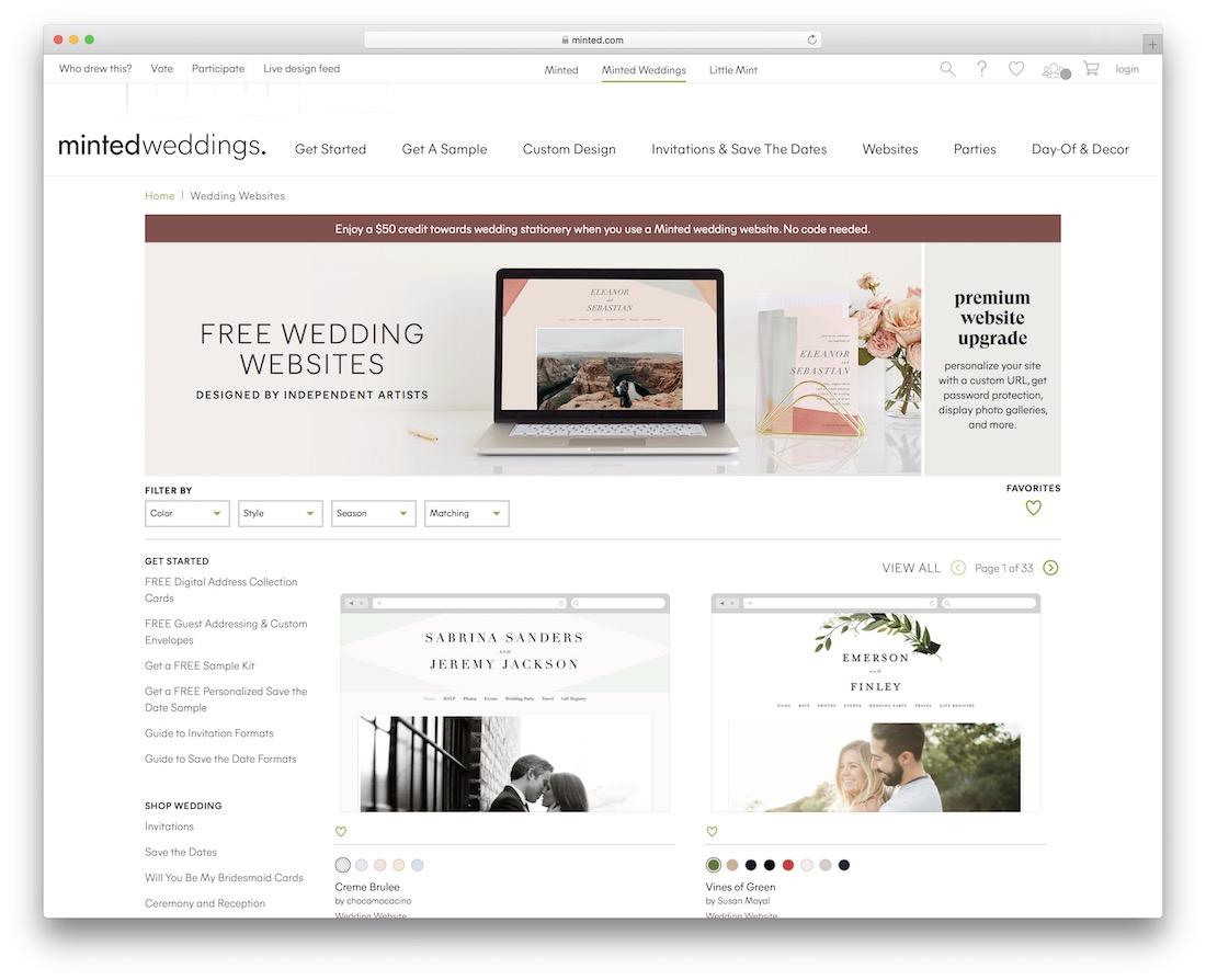 minted wedding website builder