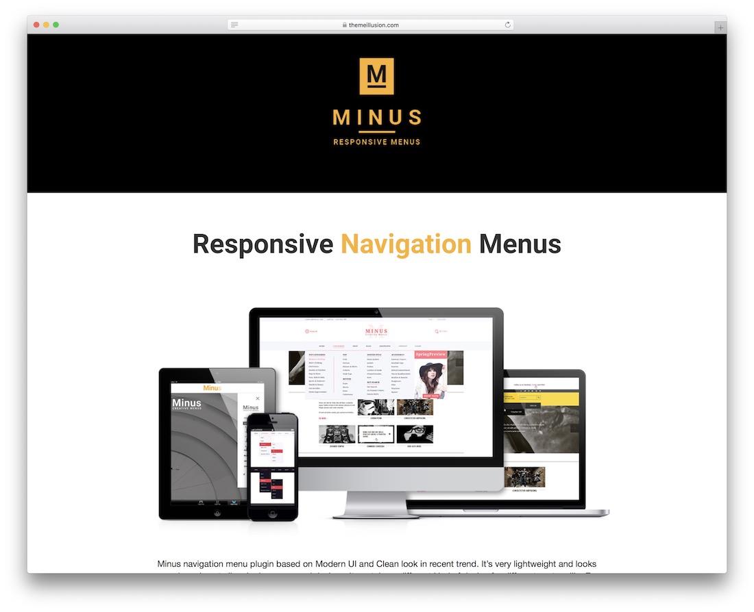 minus menu jquery navigation plugin