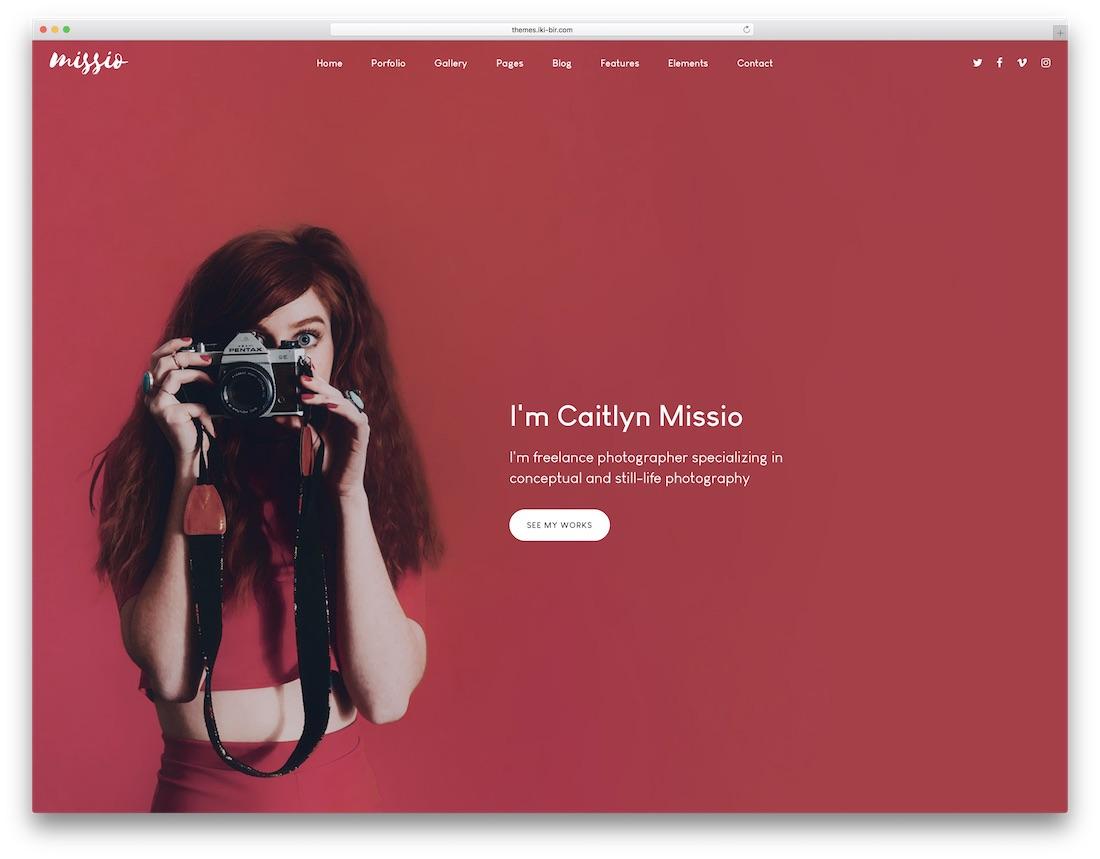 missio bootstrap portfolio website template