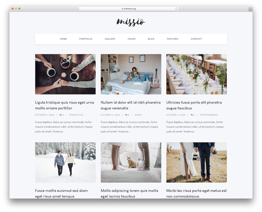 missio wordpress photography blog theme