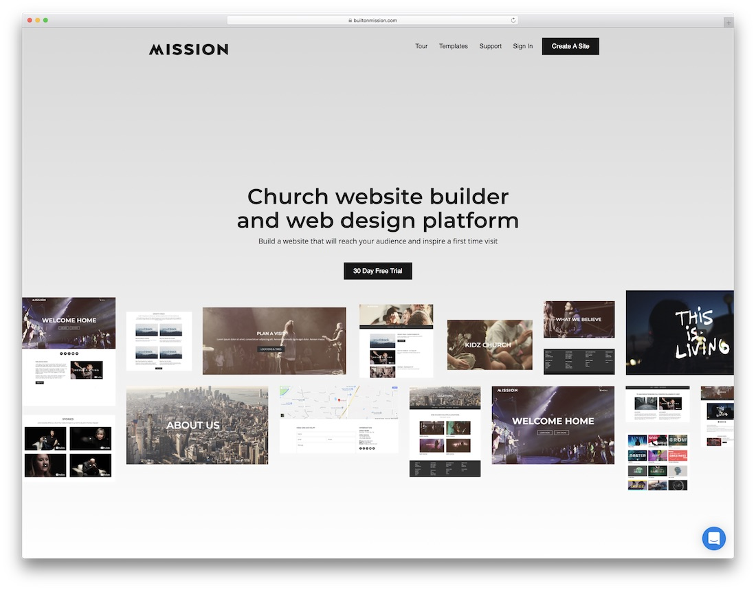 mission church website builder