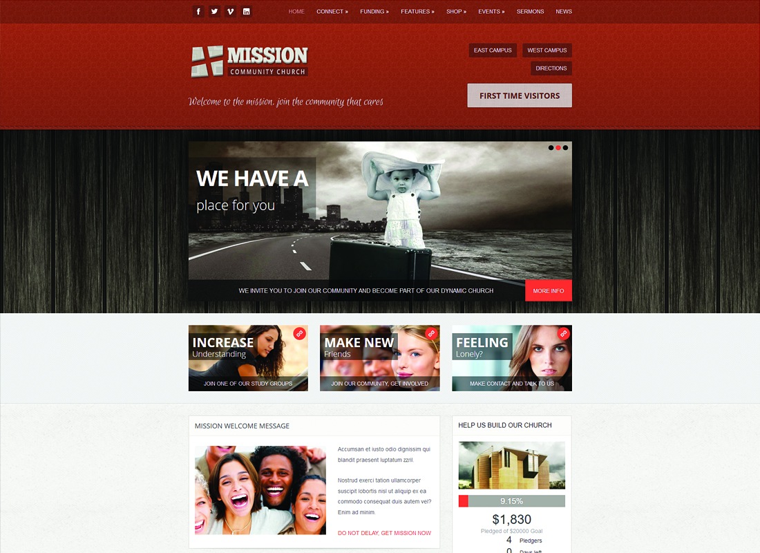 Mission | Crowdfunding and Commerce WordPress Theme for Churches