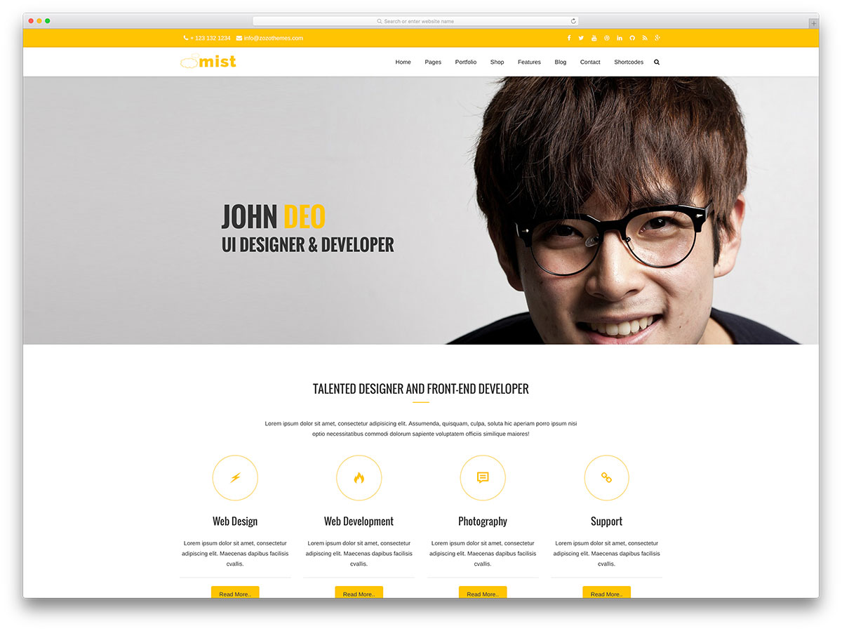 mist vcard portfolio website template