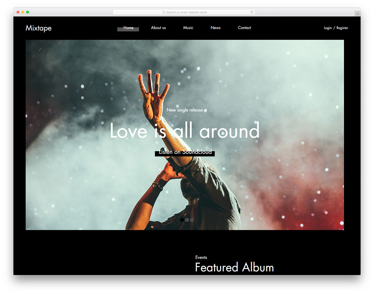 Mixtape Free Website Template For Singers Bands 2019