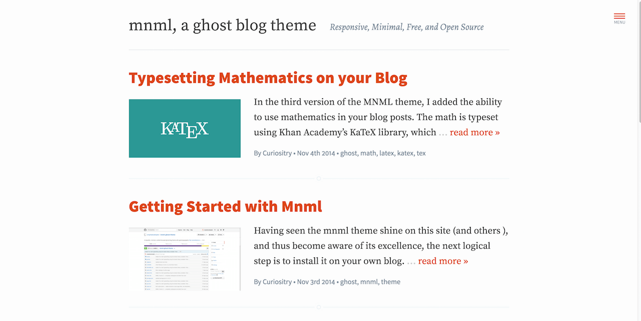 mnml a ghost blog theme