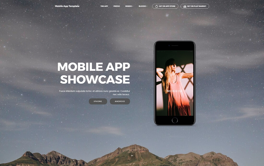 mobile app free bootstrap 4 website template