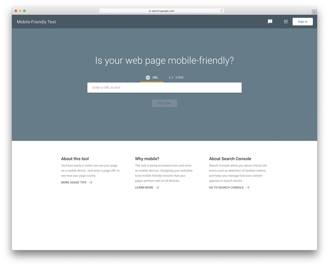 mobile-friendly test by google web design tool