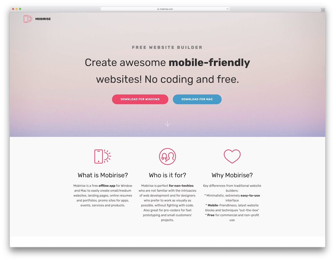 mobirise free one page website builder