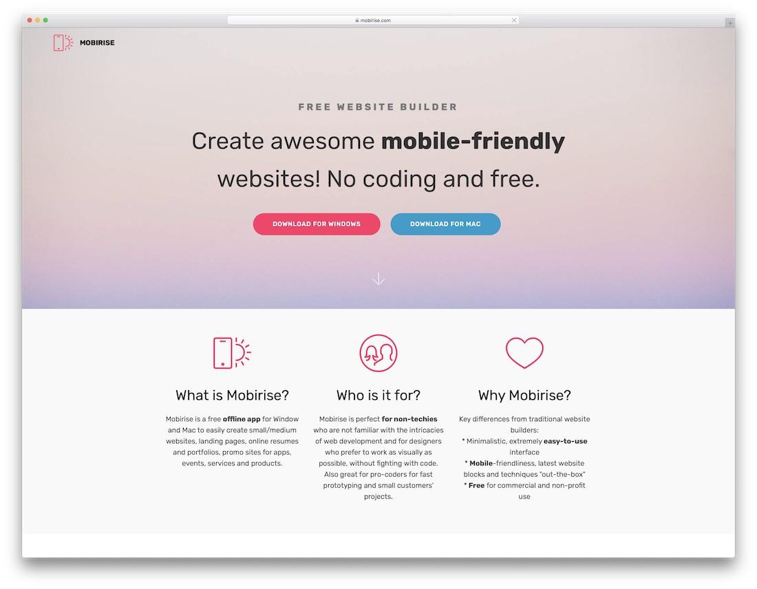 mobirise free portfolio website builder
