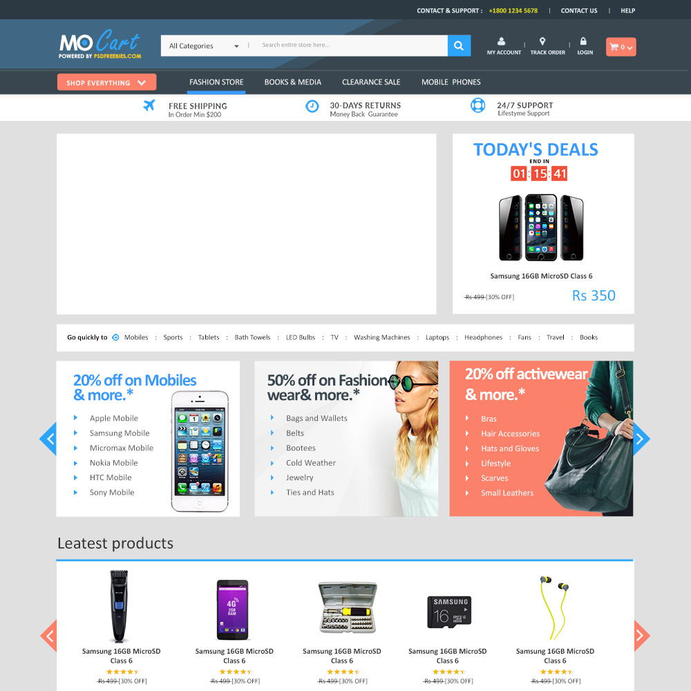 MoCart Free PSD eCommerce Template