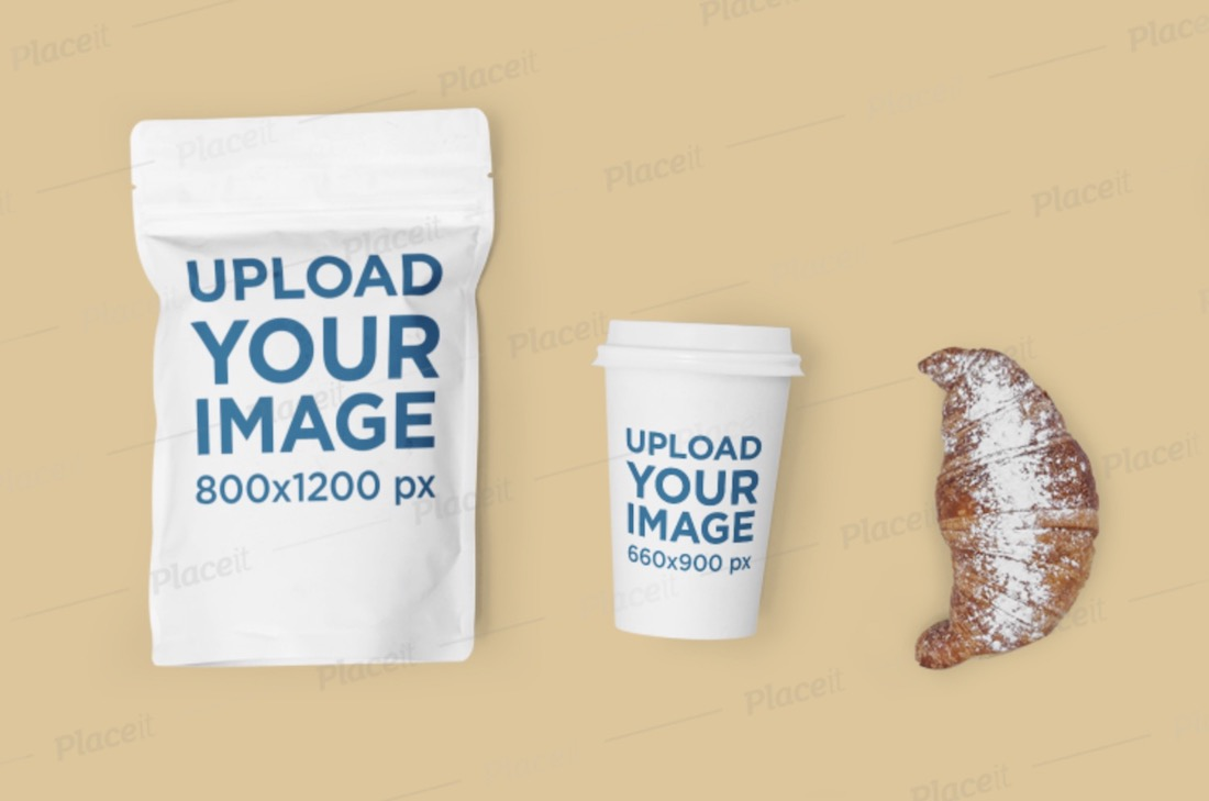 mockup featuring a coffee cup and a zip bag