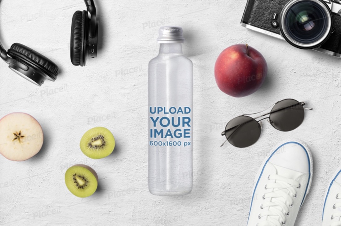 mockup featuring a glass water bottle