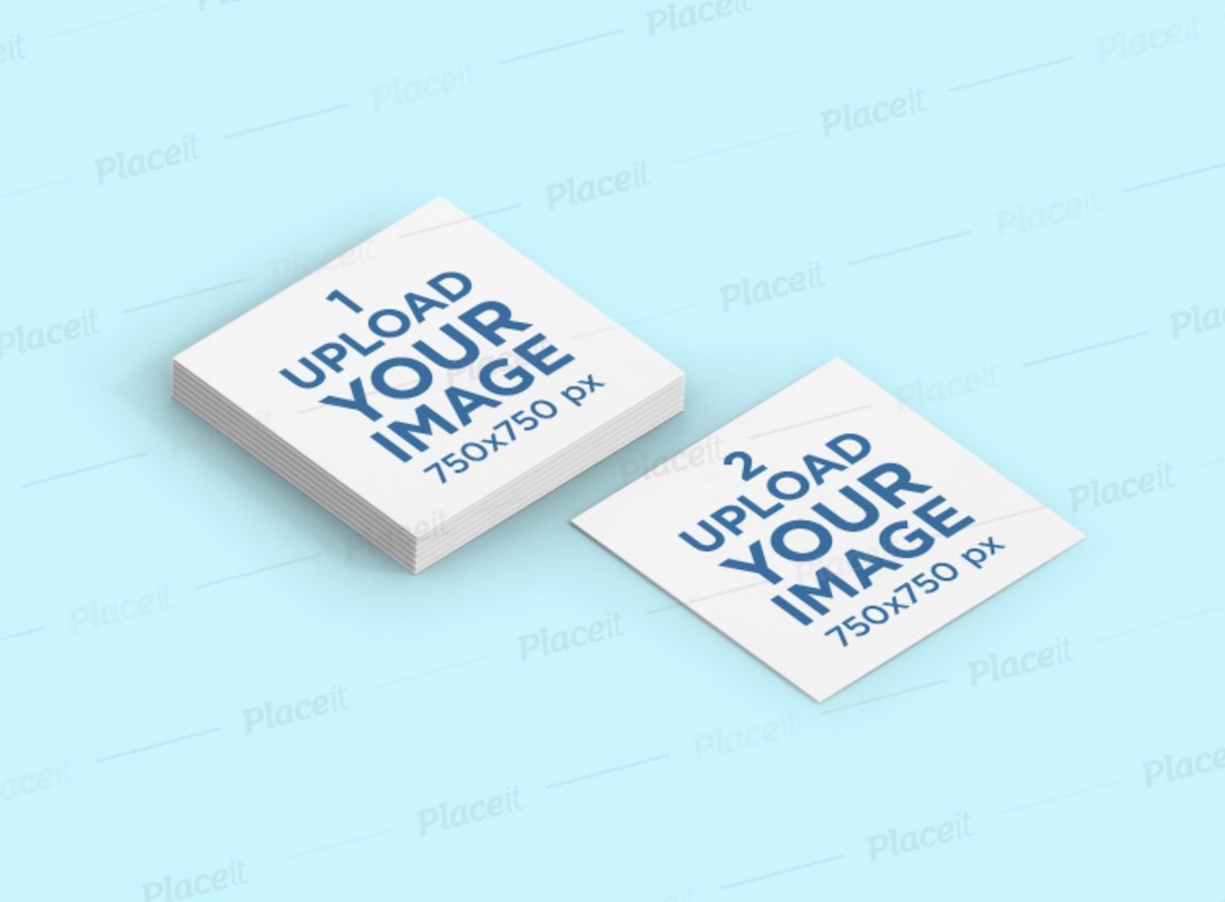 mockup featuring a square business card stack