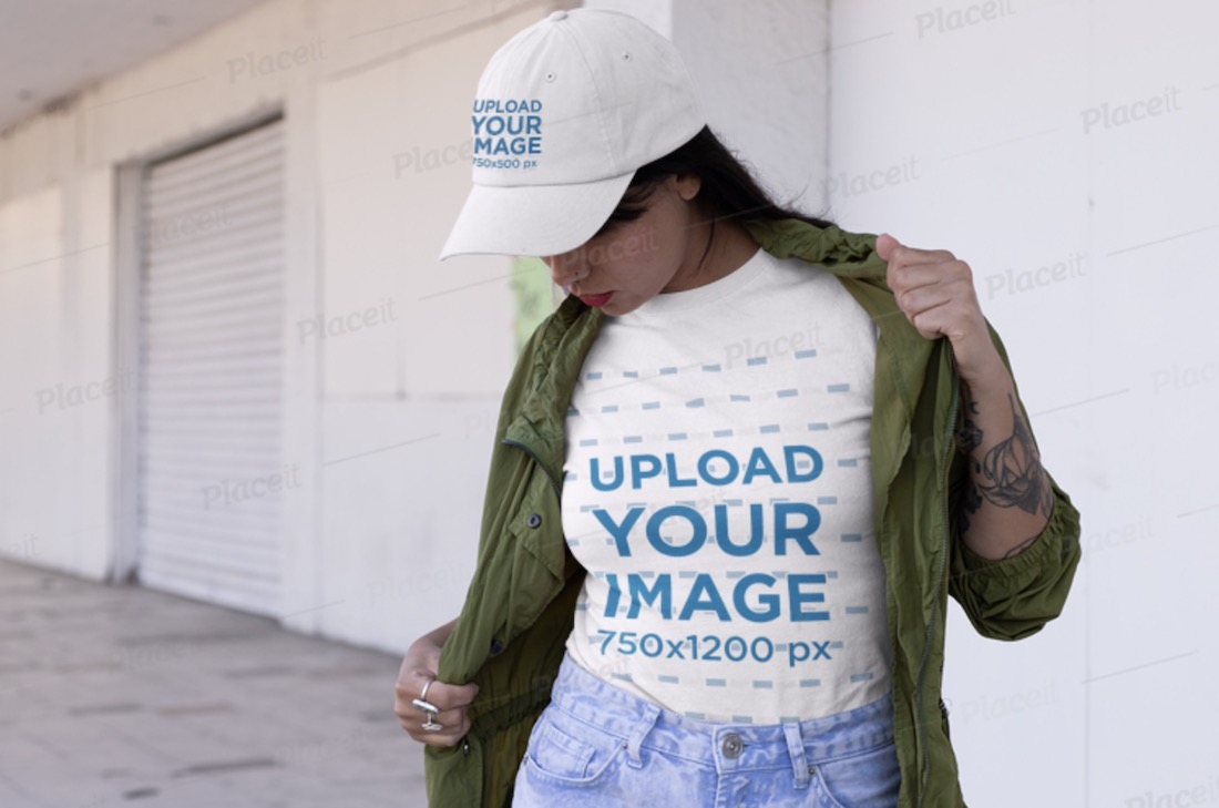 mockup featuring a woman with a tee and a dad hat on the street