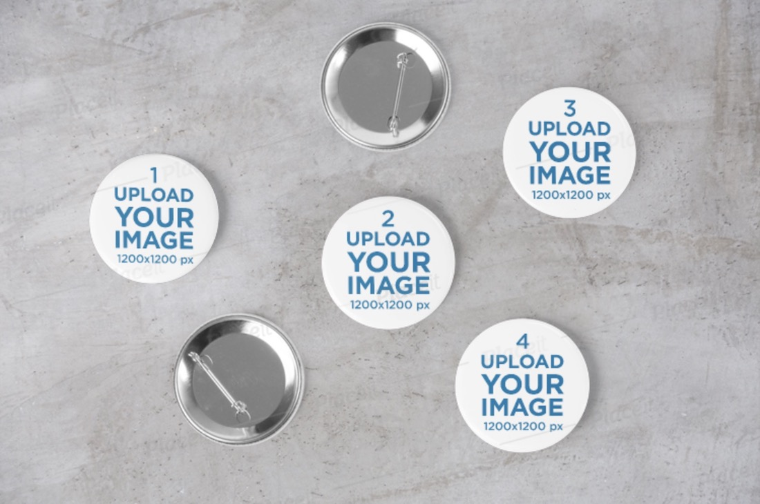 mockup featuring several pin buttons