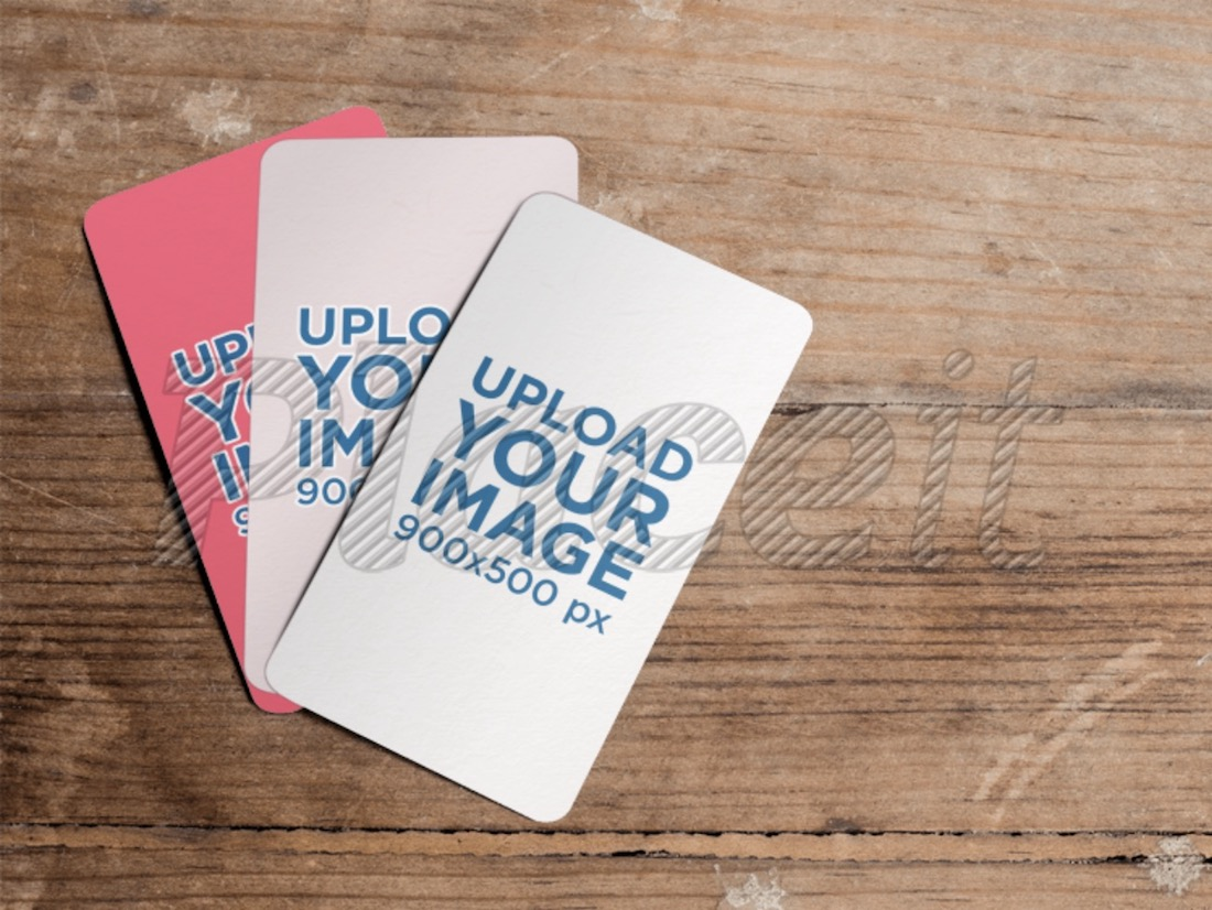 mockup featuring three business cards