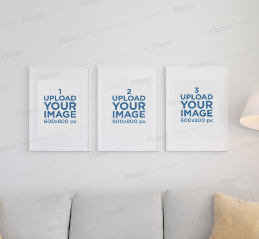 mockup featuring three picture frames
