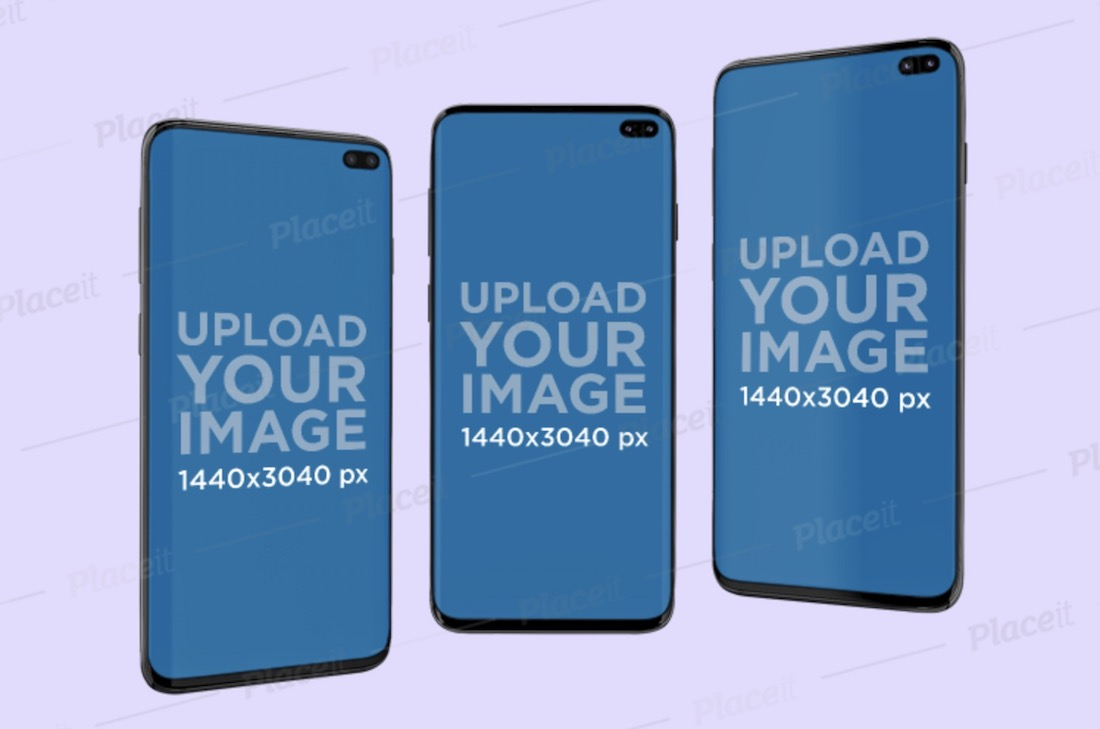 mockup featuring three samsung galaxy s10 floating