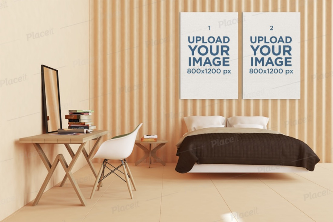 mockup featuring two art prints