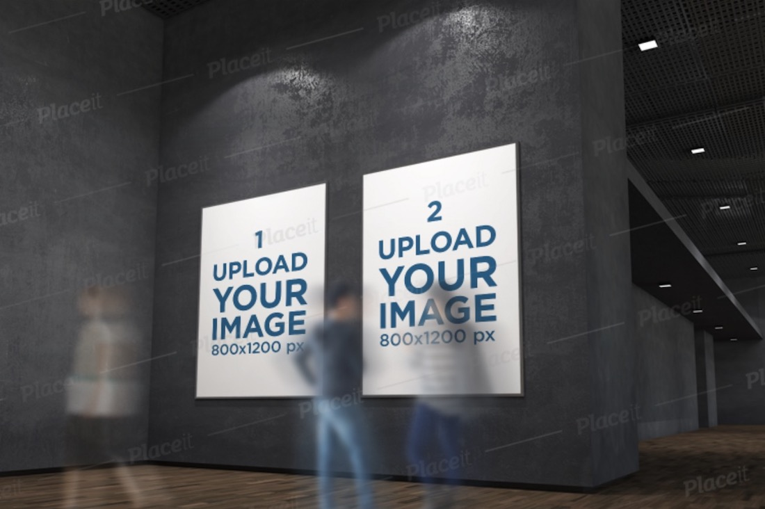 mockup featuring two exhibition posters