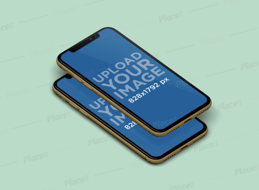 mockup featuring two overlapping iphones xr