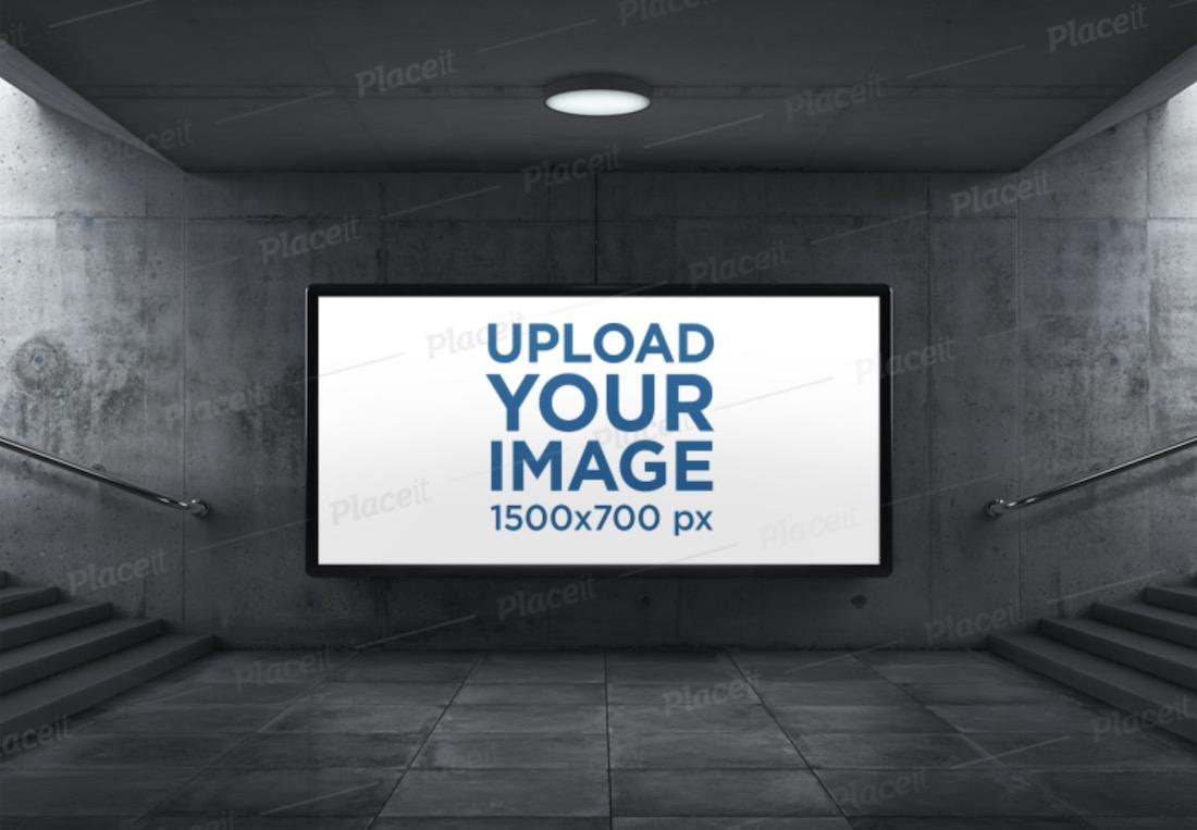 mockup of a billboard in an underground